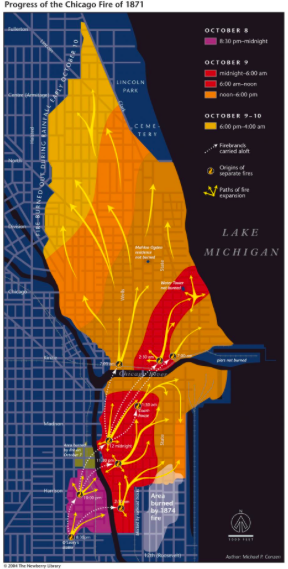 A detailed review of newspaper reports allowed Prof. Conzen and his colleagues to precisely map the progress of the infamous Chicago fire between October 8 and 10, 1871.