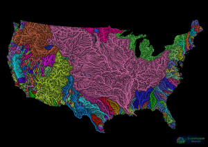 River basin map of the United States (Grasshopper Geography)